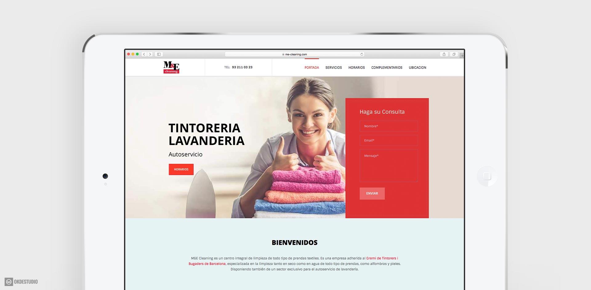 diseño y desarrollo de landing page, pagina web, para M & E Cleaning, tintorería, Barcelona, España by Okd estudio