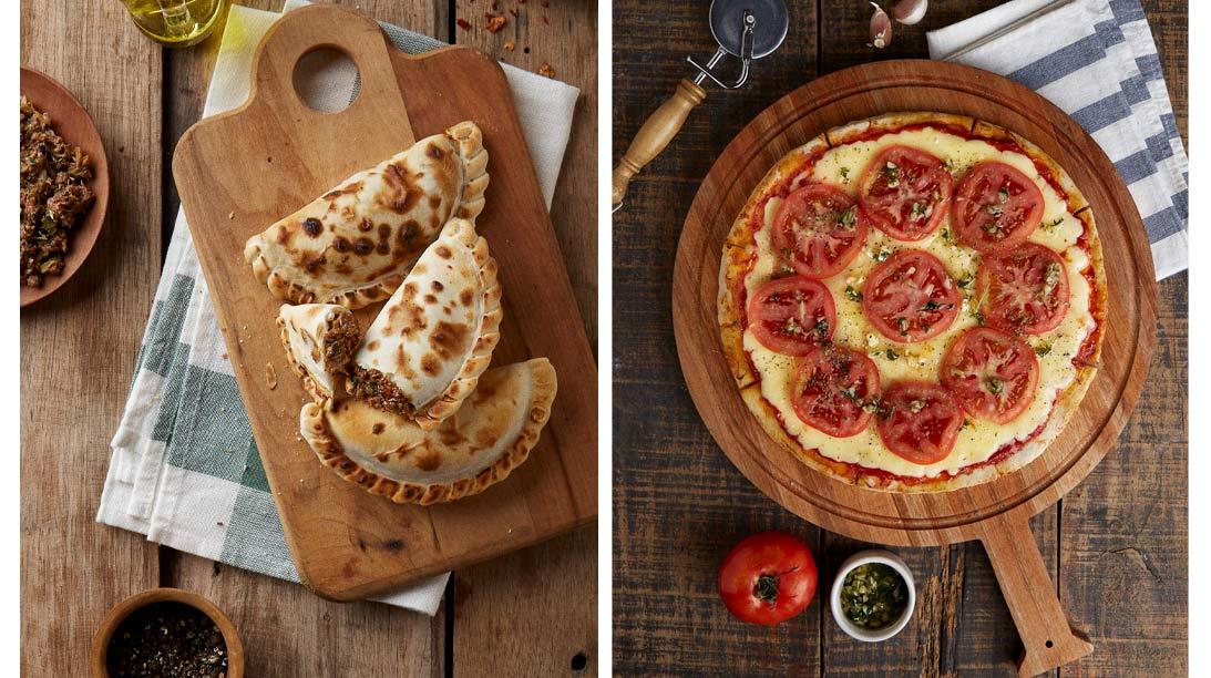 Pizzas y Empanadas. Fotografias para Tomasso Pizzas - Campaña publicitaria con food styling by okd Estudio
